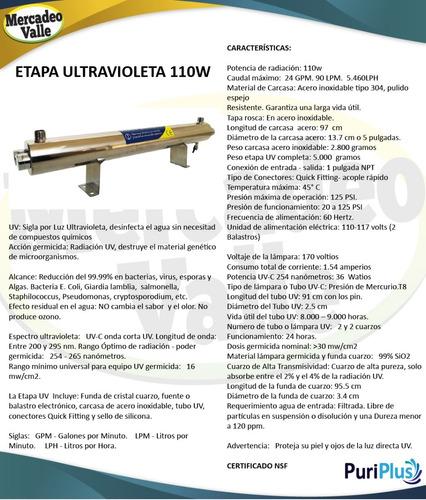 filtro de agua lampara ultravioleta uv 110w germicida