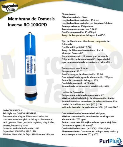 filtro de agua osmosis inversa 100gpd ultravioleta uv 6 etap