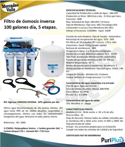 filtro de agua ósmosis inversa 5 etapas purificador 100gpd