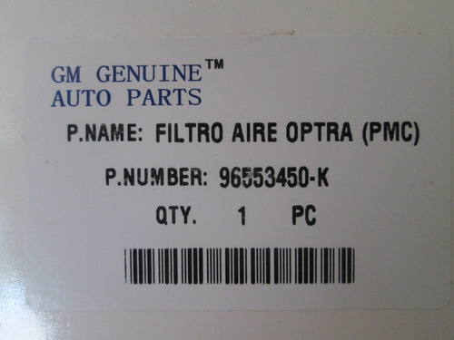 filtro de aire motor optra original gm