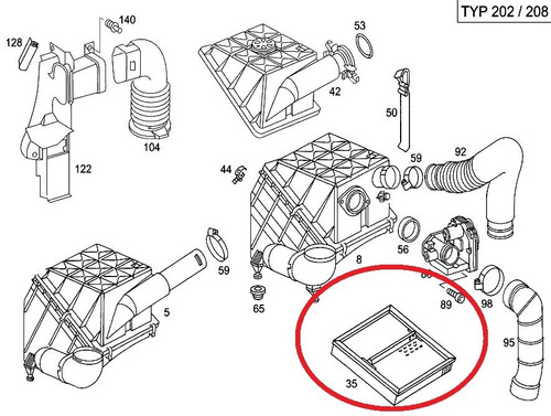 filtro de ar do motor mercedes c220 1993-1996 original