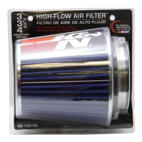 filtro de ar esportivo kn rg1001bl conico ajustavel azul