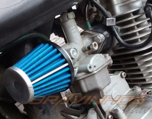 filtro de ar esportivo p/ moto honda yamaha titan fazer biz