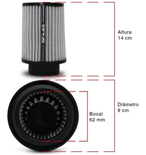 filtro de ar shutt esportivo tunning duplofluxo 62mm alto
