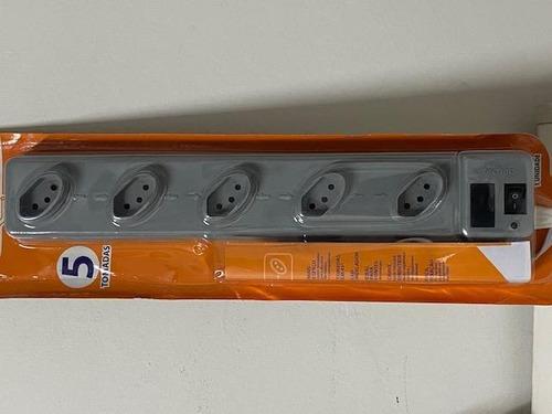 filtro de linha 5 tomadas espacadas cinza - 1 metro techna