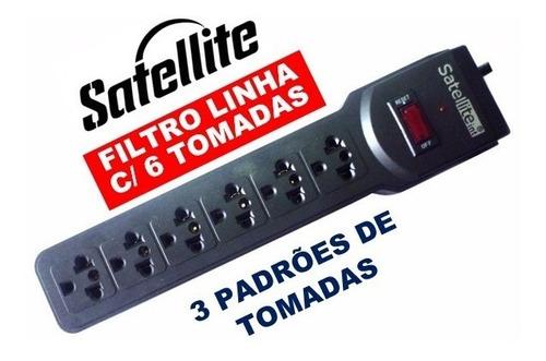 filtro de linha 6 tomadas régua satellite a-r05 3 padrões nf