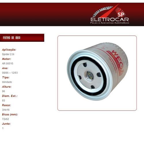 filtro de óleo alfa romeo spider 2.0i 08/86 à 12/90