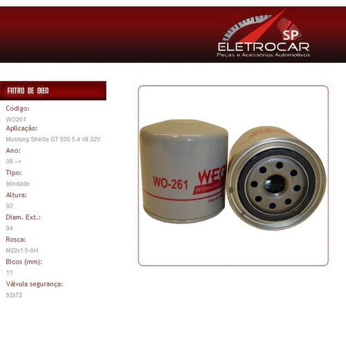 filtro de óleo ford mustang shelby gt 350 5.4 v8 32v 2008 em