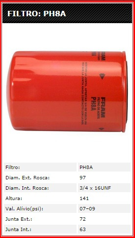 filtro de óleo  ranger - galaxie 500  - landau - maverick