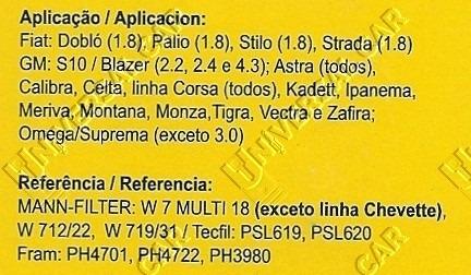 filtro de óleo s10 blazer astra celta corsa kadett ipanema