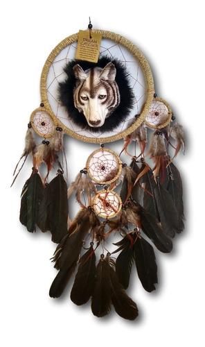 filtro dos sonhos com decoração lobo e penas preto ref.0278