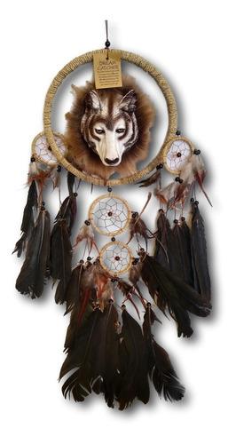 filtro dos sonhos com decoração lobo e penas preto ref.0279