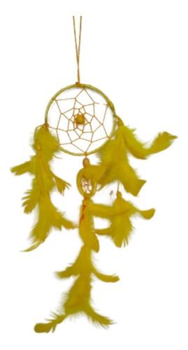 filtro dos sonhos com penas amarela ref: 9425