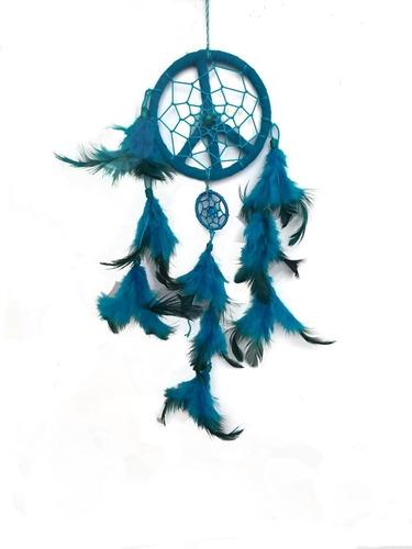 filtro dos sonhos com penas coloridas azul ref: 9364