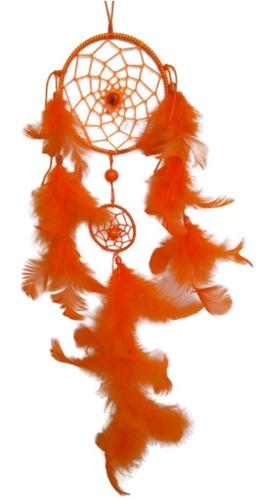 filtro dos sonhos com penas coloridas laranja ref: 9362