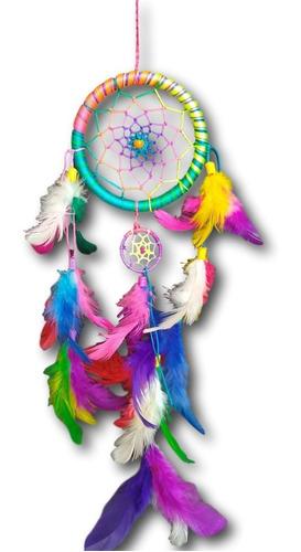 filtro dos sonhos com penas colorido arco-iris ref: 0102