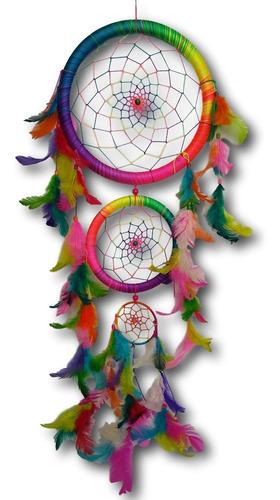 filtro dos sonhos com penas colorido arco-iris ref: 9468