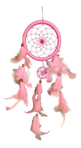 filtro dos sonhos com penas rosa ref: 0380