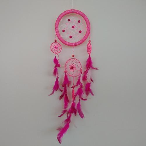 filtro dos sonhos com penas rosa ref: 9345