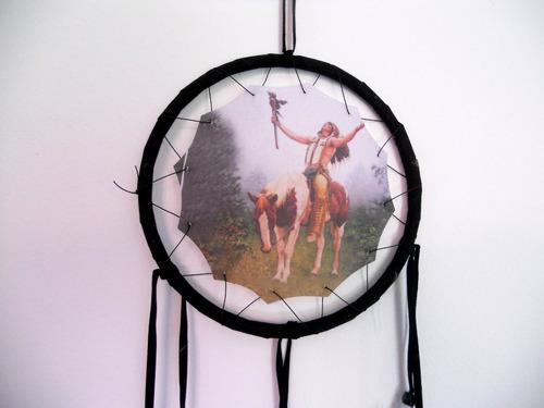 filtro dos sonhos xamãs 16 cm - índio com cavalo