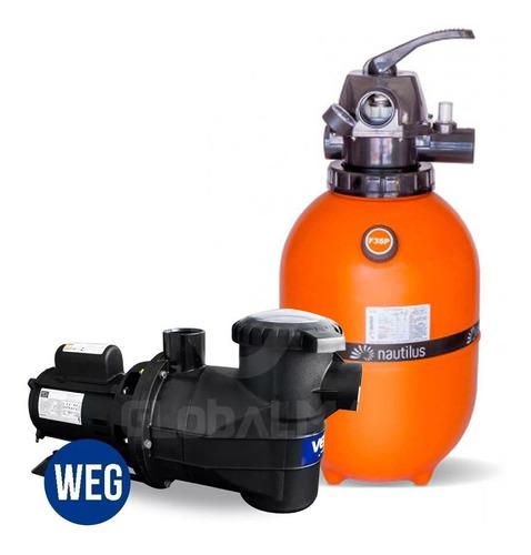filtro e motor bomba 1/3cv weg piscina 29 mil litros f350