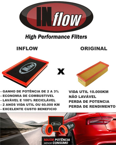 filtro inflow vw up gol fox polo virtus 1.0 12v mpi hpf4275