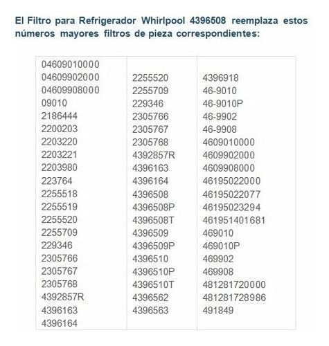 filtro interno agua refrigerador 4396508 whirlpool 2 piezas