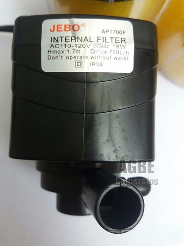 filtro interno com bomba motor submersa 750l/h p/ aquário