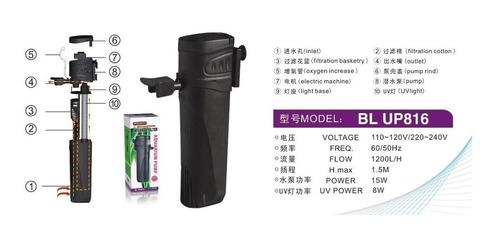 filtro interno minjiang c/ uv 6w e bomba 1200l/h - bl up816
