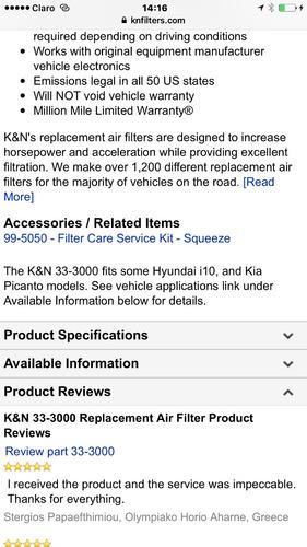 filtro k&n de reemplazo, kia , hyundai ,