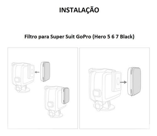 filtro mergulho magenta p/ super suit gopro hero 5 6 7 black