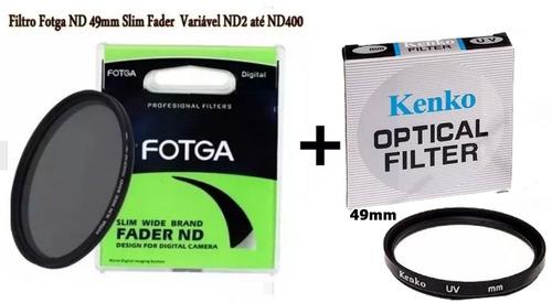 filtro nd 49mm slim variável nd2 até nd400 + uv kenko 49mm