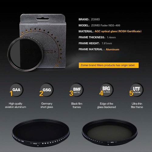 filtro nd variável zomei nd2 até nd400 profissional 67mm