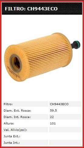 filtro óleo ch9443eco pegeout  - xsara - c3