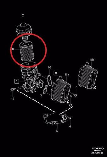 filtro oleo motor volvo s80 3.0 t6 2007-2015 original