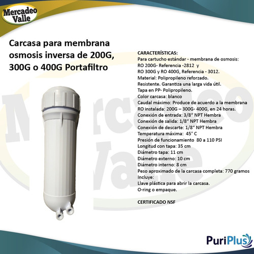 filtro ósmosis inversa purificador