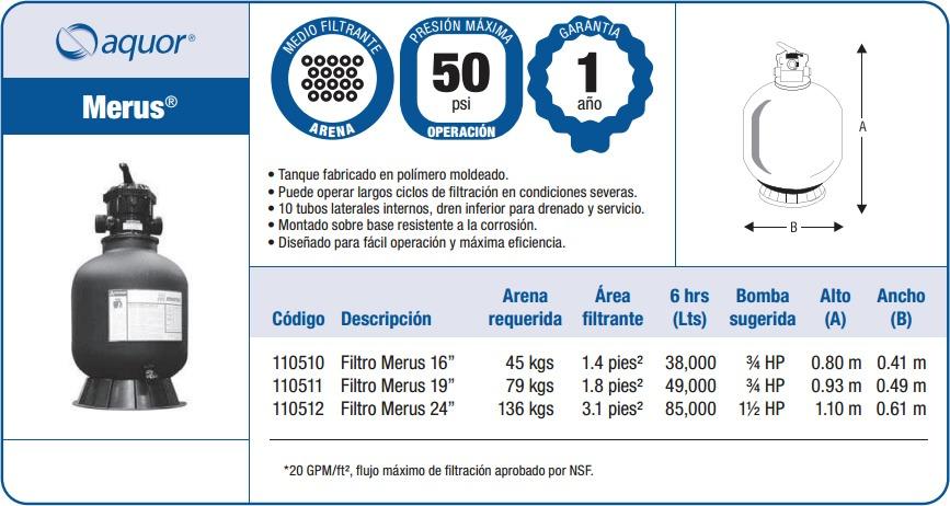Filtro para alberca marca aquor modelo merus de 24 for Filtros piscinas precios