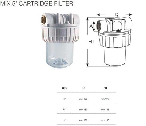 filtro partículas 60um para agua 5pulg. luise rosca ø1