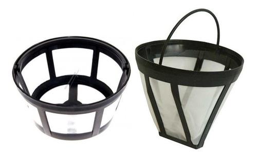 filtro permanente de cafetera redondo y conico pequeño