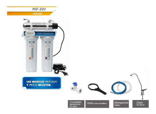 filtro purificador 3 etapas con lampara uv 6w