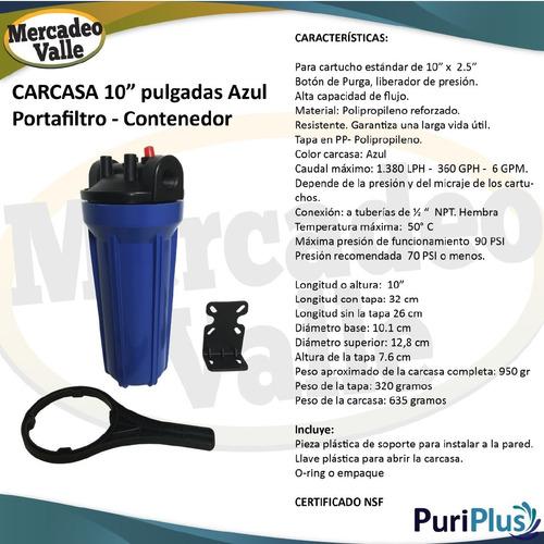 filtro purificador agua 3 etapas conexion 1/2 planta de agua