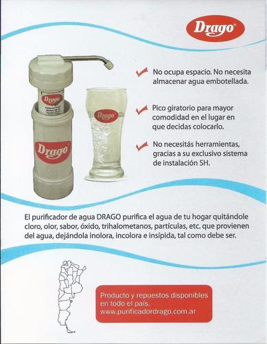 filtro purificador de agua drago con cartucho mod mp40 envio