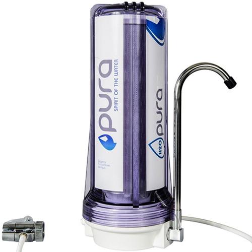 filtro purificador de agua pura h2o sobre mesada