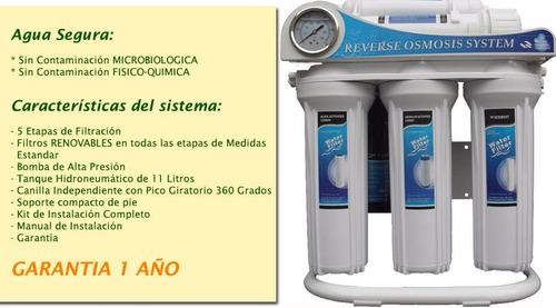 filtro purificador de agua. red o pozo por osmosis inversa.