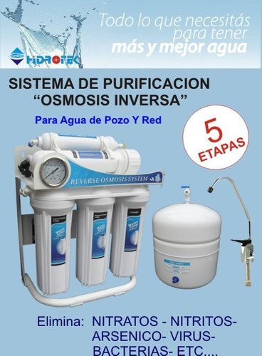 filtro purificador de agua. red o pozo por ósmosis ro-340
