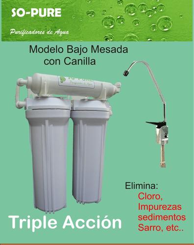 filtro purificador de agua triple sedimentos cloro mal sabor