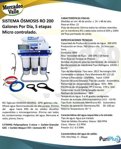 filtro purificador ósmosis inversa