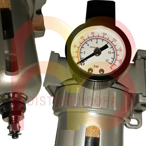 filtro regulador de aire lubricador cuerpo aluminio 1/4 pulg