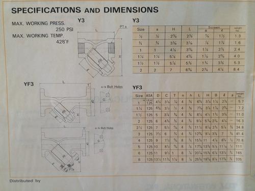 filtro (strainer) marca tlv y3 de 1-1/4 pulgada roscada npt