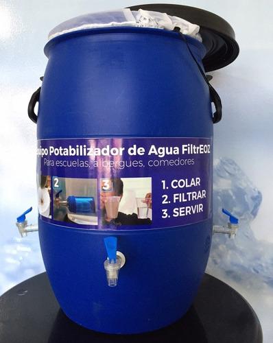 filtro triple potabilizador agua tambo 60l escuela comedor